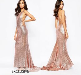 Wholesale Long Mermaid Dresses Affordable - Rose Gold Sequined Criss-cross Bridesmaid Dresses Long Floor Ruffles Skirt Train Affordable Evening Dresses Simple Elegant Formal Dresses