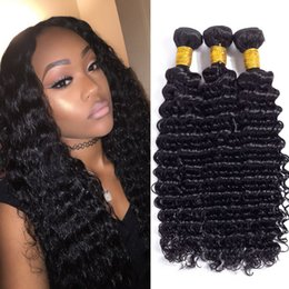 Wholesale Hair Extensons - 7A 3bundles deep wave with 4*4 frontal lace closure human hair extensons unprocessed brazilian hair weave with closure free part