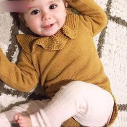 Wholesale Merry Christmas Baby - Baby girls knitting romper newborn falbala collar long sleeve red princess romper Merry christmas infant kids triangle jumpsuits R1284