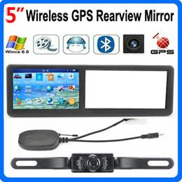 Wholesale Wireless Car Rear Mirror - HD 5 inch Car GPS Mirror AVIN Wireless Rear View Camera FM Bluetooth GPS 4GB IGO Maps