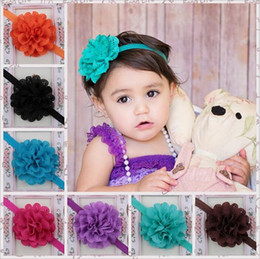 Wholesale Large Flower Baby Headbands - Fashion Baby girls headbands mix Large Flower assorted colors Children Hair Accessories kids headwear Head piece Head accessories KHA89