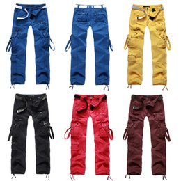 Wholesale Women Baggy Dance Pants - Womens Clothing Women Lemon Yellow Cargo Pants Mullti Pockets Harem Hip Hop Sports Pants Dance Costume Girls Loose Baggy Trousers 9820