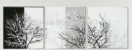 Arbre blanc toile art mural en Ligne-Abstrait Noir Blanc Arbre Étiré toile de peinture à l'huile Paysage D'hiver à la main Moderne bureau à la maison Hôtel wall art décor Livraison Gratuite Cadeau