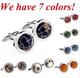 abotoaduras coloridas Desconto Alta Qualidade Globo Cuff Link Colorido 3D Abotoaduras de Terra de Cobre abotoaduras MOQ 100 pcs == 50 pares de 7 cores livre DHL / FEDEX wish_team