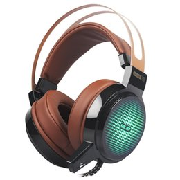 Wholesale Microphone Leads - Wired Gaming Headset Deep Bass Game Earphone Computer headphones with microphone led light headphones for computer pc
