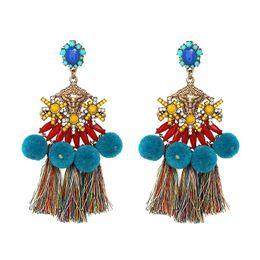 Wholesale Hair Styles Fringes - Fashionable Long Hanging Earring for Ladies Folk Style Tassel Earring Design Retro Hair Ball Fringe Punk Earrings Free Shipping
