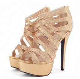 2019 tacón alto de plata Sexy zapatos de boda de plata de oro gladiador sandalias de tiras de plataforma alta tacón de aguja zapatos de vestir 2016 Tamaño 35 a 39 tacón alto de plata baratos