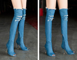 Wholesale Fish Cylinder - New style Foreign trade original single high - cylinder elastic Boots fish mouth side zipper Tigh high elastic denim Cowboy boots wholesale