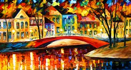 Wholesale Bridge Life - HOT SALE Paintings Brilliant colors dusk building bridges shadows oil painting village high temperature core Church Brilliant colors 140