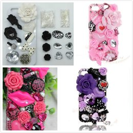 Wholesale Diy Bling Cell Phone - Fashion 3D Bling 5 styles lips DIY Cell Phone iPhone4,4s,5s,samsung s5 Case - Deco Den Kit