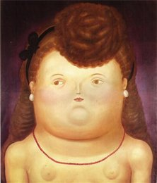 Wholesale Botero Hand Painted - oil Painting,Fernando Botero art for sale Girl Arc Canvas,Hand-painted,High quality