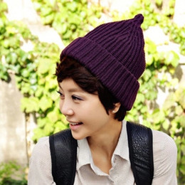 Wholesale Popular Purple Ties - Fashion Sharp Hat Candy Color Knitted Wool Beanie For Men And Women Warm Cap Orange Green Popular 8bd B