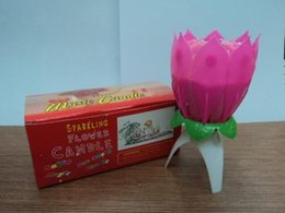 Wholesale Birthday Lotus Blossom - 2015 Beautiful Blossom Lotus Flower Candle Birthday Party Cake Music Sparkle Cake Topper Candle
