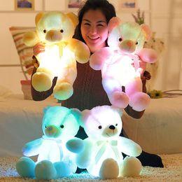 Wholesale Led New Years - 30cm 50cm Colorful Glowing Teddy Bear Luminous Plush Toys Kawaii Light Up LED Teddy Bear Stuffed Doll Kids Christmas Toys CCA8079 100pcs