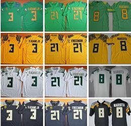 Wholesale Freeman Football - Men Marcus Mariota 8 Royce Freeman 21 Vernon Adams Jr 3 stitched Oregon Ducks College football jerseys