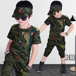 Wholesale New Fashion For Boys Clothing - New Fashion Summer big Boys Clothes Sets Short sleeve Ccamouflage Cotton Kids Outfits For Boy Embroidered Star Boy's Casual Sport Set A7830