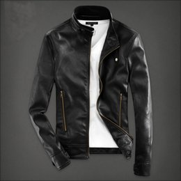 Wholesale Leather Jacket Men Wholesale - Wholesale- T china cheap wholesale 2017 spring Autumn new youth popular men slim stand collar fashion casual male cool pu leather jacket