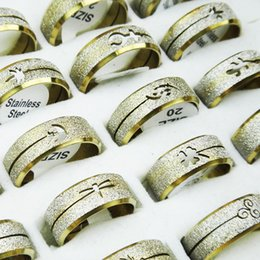 Wholesale 18k Gold Wire Wholesale - New 20 Pcs Wholesale Jewelry Lot Stainless Steel Golden Wire Drawing Rings Free Shipping Mix Shape