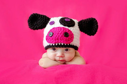Wholesale Crochet Knit Animal Prop - Baby Beanies Wool cap Knitted Newborn baby animal cartoon Dairy cow hat newborn photo props BA470