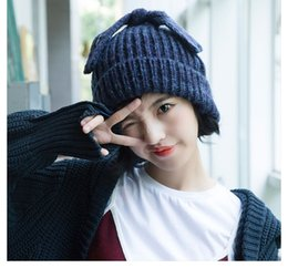 a356d61f1062c South Korea autumn and winter thick warm knitted wool hat ladies fashion  Korean tide lovely rabbit ears knitted