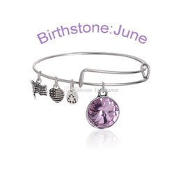 Wholesale Alex Ani Set - Fashion Birthstone Crystal Pendant of 12 Months Birthstone Alex and Ani Charm Wiring Bracelet expandable bangle Free Shipping