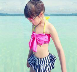 Wholesale Pink Skirt Bikini - Pink Red girls swimwear hat big bow bikini striped skirt girls bikinis set beach swimsuit bow bikini bra baby swimwear girl free shipping