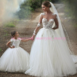 Wholesale Girls Puffy Tulle Skirt - Arabic Islamic Mother and Daughter Dresses 2015 Puffy Ball Gown Crew Appliques Miniature Brides Plus Size Tulle Skirt Flower Girls Dresses
