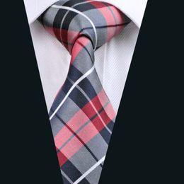 Corbatas rojas a cuadros para hombres online-Classic Red Black Plaid Necktie for Men Silk Jacquard Woven Casual Business Party Work Formal Reunión Tie D-0342
