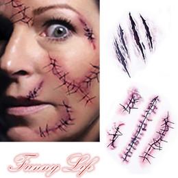 Adesivi per la cicatrice online-Tatuaggio temporaneo del corpo del tatuaggio monouso della cicatrice di anima della lama di Halloween 3d (dimensione: 1)