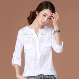 2019 blusas de moda coreana al por mayor Al por mayor- Blusas Femininas 2016 E Camisas de manga larga de la camisa de las mujeres ropa blusa blanca más el tamaño de la ropa de moda coreana Chemise Femme rebajas blusas de moda coreana al por mayor