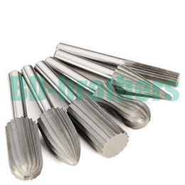 "Wholesale Carbide Burr Drill - 6 pcs  set HSS Carbide Burr Bit Rotary Cutter Files Set Milling Cutter 6mm 1 4"" Shank For Dremel Rotary Tools Electric Grinding 100"