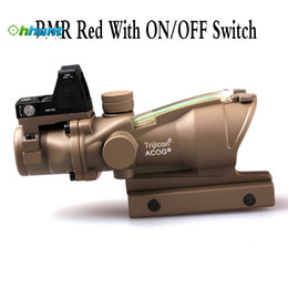 Wholesale Acog 4x32 Rmr - Trijicon ACOG Style 4X32 Tan Real Fiber Optics Green Illuminated Tactical Scope w  RMR ON OFF Switch Red Dot