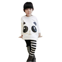 Wholesale Kids Pullover Sweatshirts - 2pcs baby set outfits girl kids cartoon panda sweatshirt cute paillette panda batwing sleeve pullover coat striped pants new 2016 autumn