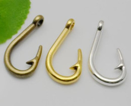 fish hook charm fishing pendant Coupons - Hot Alloy 50pcs Vintage Style Bronze Silver Zinc Alloy Finish Fish Hook Charms Necklace Pendant For Jewelry Making 36x20mm
