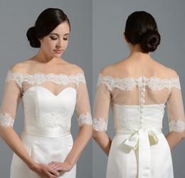 Wholesale Alencon Lace Bolero - New Off The Shoulder Shoulder Alencon Lace Bolero Jacket Bridal Wedding Jackets Women Wedding Jackets