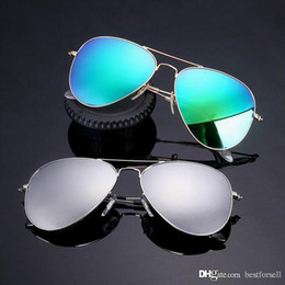 Wholesale vintage bands - New Polarized Sunglasses 58mm Pilot Men Women Fashion UV400 Band Vintage Mirror L18 Glass Sun Glasses with boxes