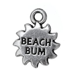 Wholesale Wholesale Silver Message Jewelry - Free shipping New Fashion Easy to diy 30pcs sun with beach bum message charm jewelry making fit for necklace or bracelet