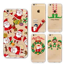 Feliz natal iphone on-line-Merry christmas glitter stars quicksand árvore feliz ano novo papai noel macio silicon phone case para iphone 5s se 6 s 7 plus x