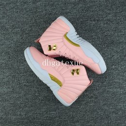 Wholesale Womens Animal Print - Free shipping Air Retro 12 GS Pink Lemonade basketball shoes Womens Pink Lemonade Sneakers [With Box]