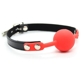 Wholesale Leather Bondage Wholesale - Open Mouth Bondage Red Solid Silicone Ball+ Black Leather+ Lock Good elasticity Slave Gag For Couples Erotic High Quality Restraint Device