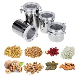 Wholesale Wholesale Food Powders - 4pcs set Stainless Steel Sealed Cans Pots Storage Spice Jars with Transparent Covers Coffee Tea Candy Beans Milk Powder Food