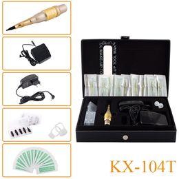 Wholesale Mosaic Machine Needles - New Style KX-104T Permanent Makeup Eyebrow Tattoo Mosaic Machine Kit Cosmetic Pen Pedal Needles Tips Power Supply Free Shipping