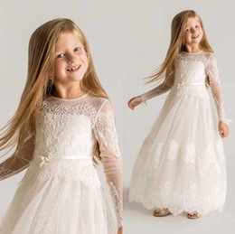 Wholesale Long Designer Wedding Dress - 2015 Princess Sheer Tulle Flower Girls Dresses Long Sleeves Custom Made Lace Designer First Communion Dresses Appliques Latest Designer