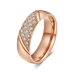 Wholesale china wife - High Quality Fantasitic Best Gift For Wife IP Rose Gold Plated Stainless Steel Top Drill Crystal Brand New Ring Women  Lady