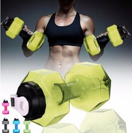 Wholesale Bikes Direct - 2.2L Dumbbells Shaped Plastic Big Large Capacity Gym Sports Water Bottle Outdoor Fitness Bicycle Bike Camping Cycling Kettle CCA8213 30pcs