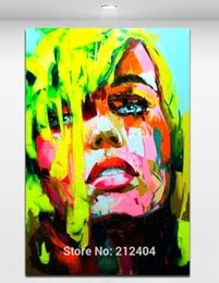 Wholesale Oil Paintings Picture - Fashion Girl Hand painted Oil Painting on Canvas Palette Knife Figure Picture Living Room Bar Wall Decor