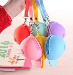Wholesale Silicone Bracelet Plain - Fashion and cute silicone coin pouch candy colors change storage mini baseball cap purse with bracelet