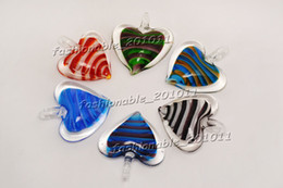 Wholesale Murano Stripe - Heart Multi-Color Lampwork Murano Glass Pendants Stripe Necklaces Wholesale Retail FREE #pdt165