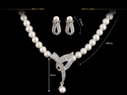 Wholesale Classic Costume Jewelry Wholesale - White Simulated Pearl Necklace Set Classic Design Rhinestone Crystal Earrings Wedding Bridal Jewelry Set Party Costume Women Gifts