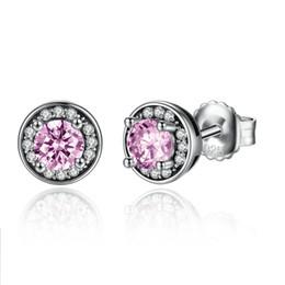 Wholesale Luxury Earings - wholesale free shipping 2017 vintage quality luxury jewelry sweet pink diamond 925 sterling silver pearl women stud earings christmas gift